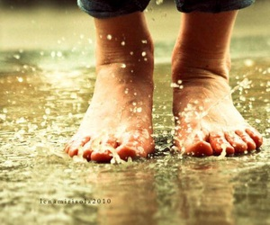 barefoot, playing, and puddles image
