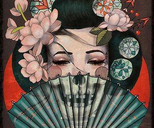 art, tattoo, and geisha image