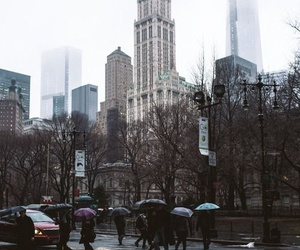 city, rain, and new york image