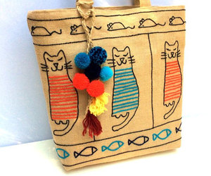 bags and purses, unique handmade bag, and cats image