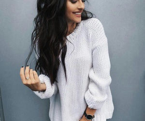 black jeans, outfit, and white sweater image