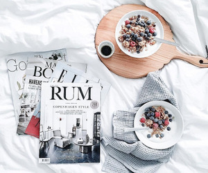 food, breakfast, and magazine image