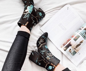 boots, black, and embroidered image