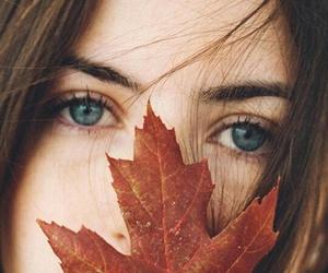 girl, autumn, and eyes image