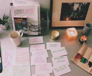 desk, candle, and coffee image