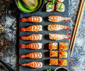 food, meal, and sushi image