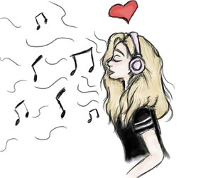 drawing, music, and ♡ image
