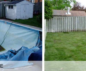 pool removal, swimming pool demolition, and pool fill in image