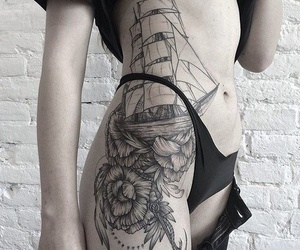 tattoo, ship, and flowers image