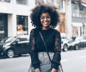 lace, kinky curly hair, and long skirt image