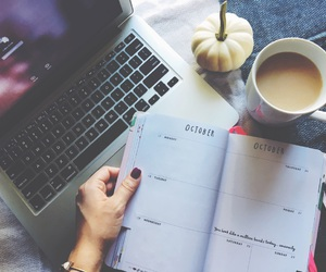agenda, apple, and coffee image