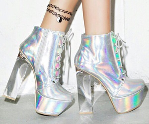 shoes, holographic, and heels image