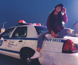 girl, police, and car image