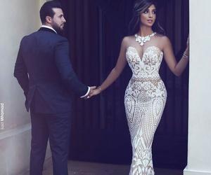 dress, couple, and wedding image