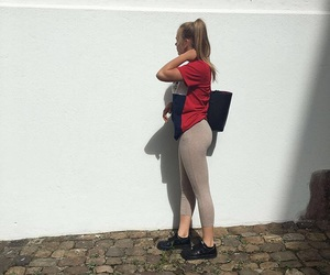 blonde, booty, and leggins image