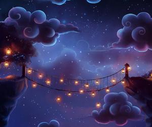 night, clouds, and lantern image