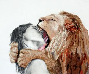 lion, art, and kiss image