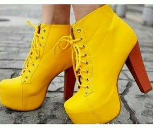 fashion, shoes, and yellow image