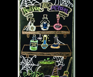 chalk art, chalkboard, and Halloween image