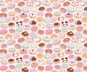 background, donuts, and doodle image
