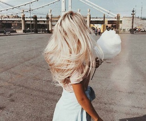 hair, blonde, and cotton candy image