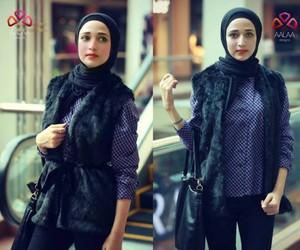 fur vest with hijab image