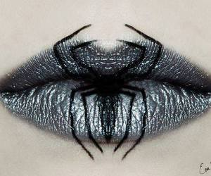 lips, spider, and Halloween image