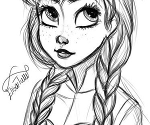 anna, frozen, and drawing image