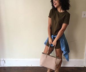 carefree, curly hair, and fashion image