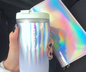 holographic, starbucks, and aesthetic image