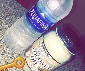 water, coconut oil, and snapchat image