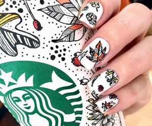 nails, starbucks, and autumn image