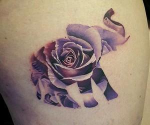 elephant, rose, and tattoo image