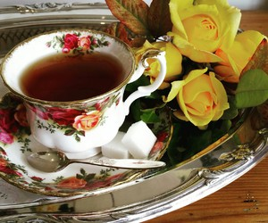 silver tray, tea, and teacup image