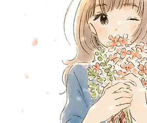 flowers, girl, and anime image