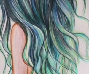 hair, blue, and drawing image