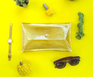 etsy, gold clutch, and clear clutch image