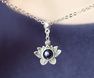 etsy, blue pearl necklace, and lotus jewelry image