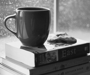 beautiful, black and white, and books image