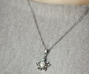 etsy, silver necklace, and yoga jewelry image
