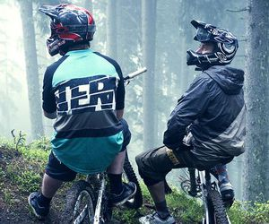 boys, downhill, and forest image