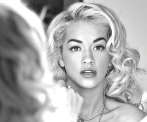 rita ora, blonde, and black and white image