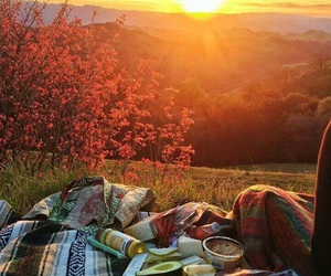 sunset, picnic, and nature image