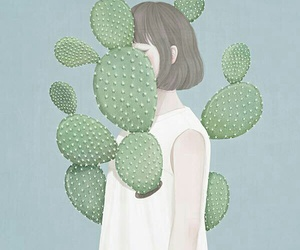 girl, art, and cactus image