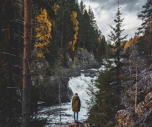 girl, river, and trees image