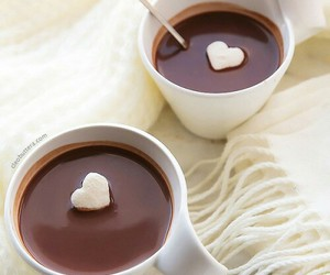 winter, heart, and hot chocolate image