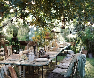 garden, table, and dinner image