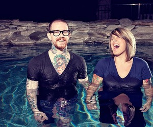 couple, pool, and tattoo image