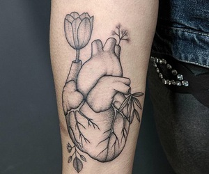 geometric, heart, and tattoo image