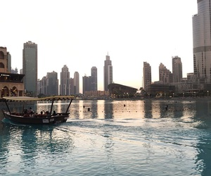 boat, buildings, and dubaimall image